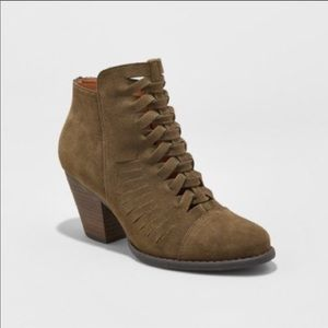 Olive green woven front ankle booties
